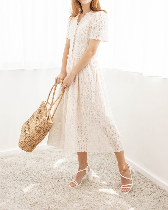 [PREORDER] Cream Eyelet Button Down Midi Dress