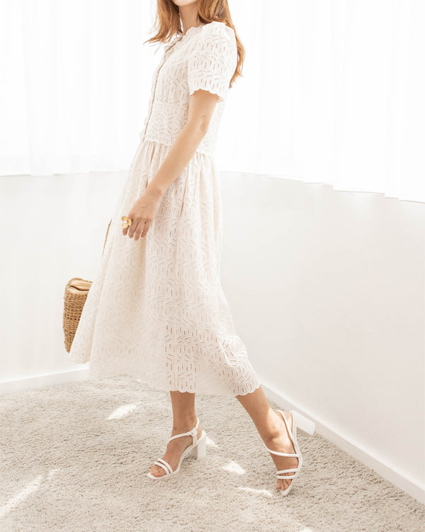 Cream Eyelet Button Down Midi Dress