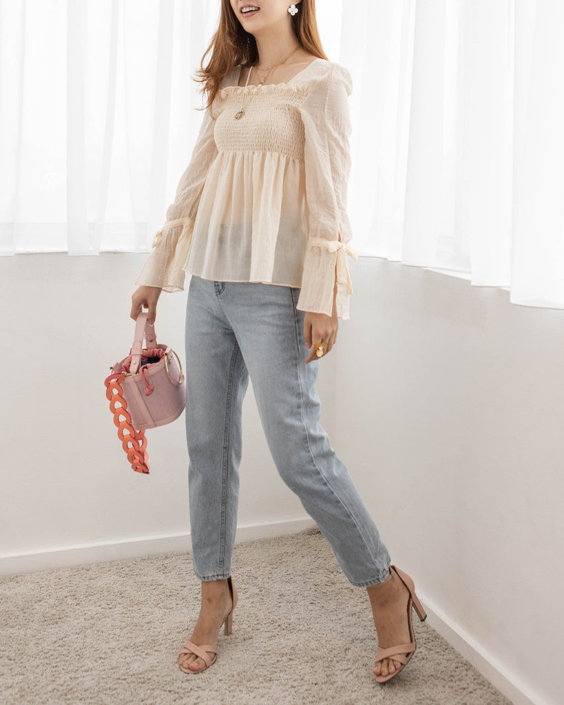 Cream Smocked Flare Sleeve Top