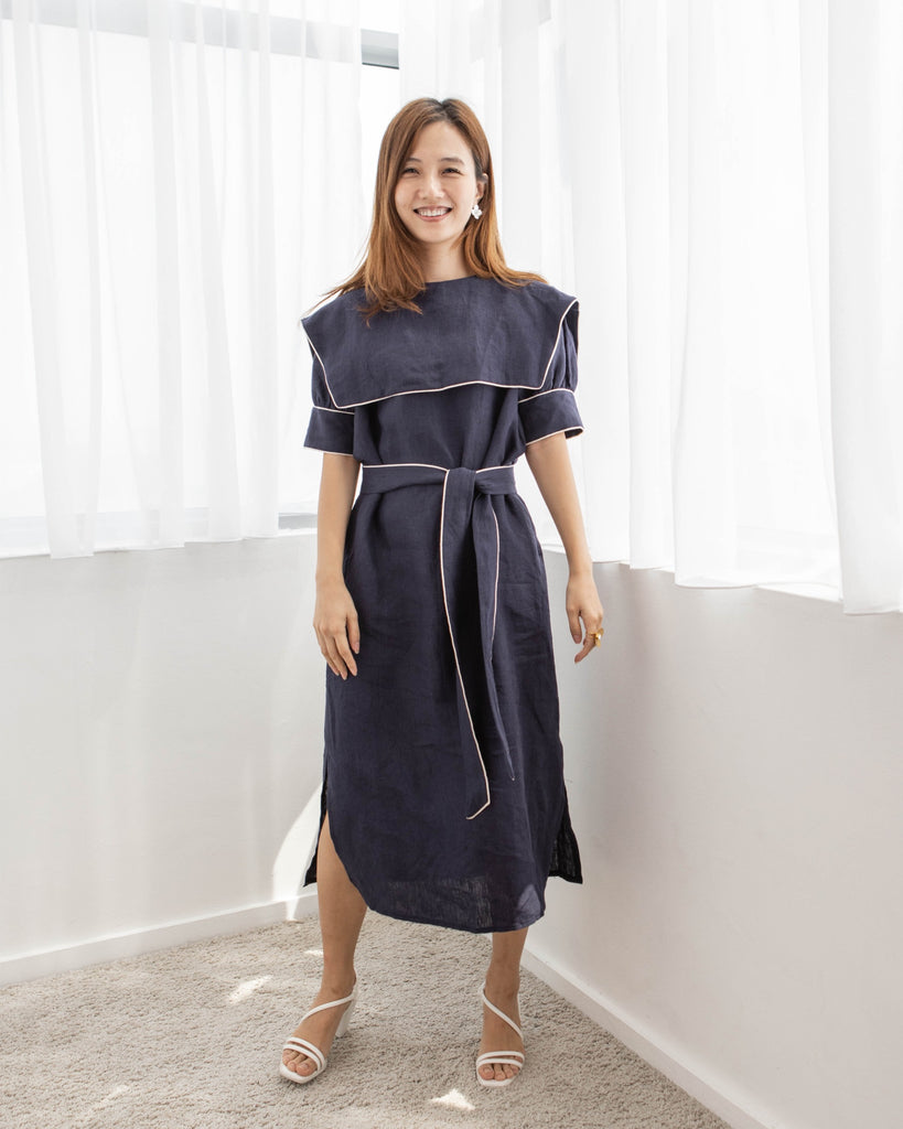 [PREORDER] Navy Linen Midi Dress