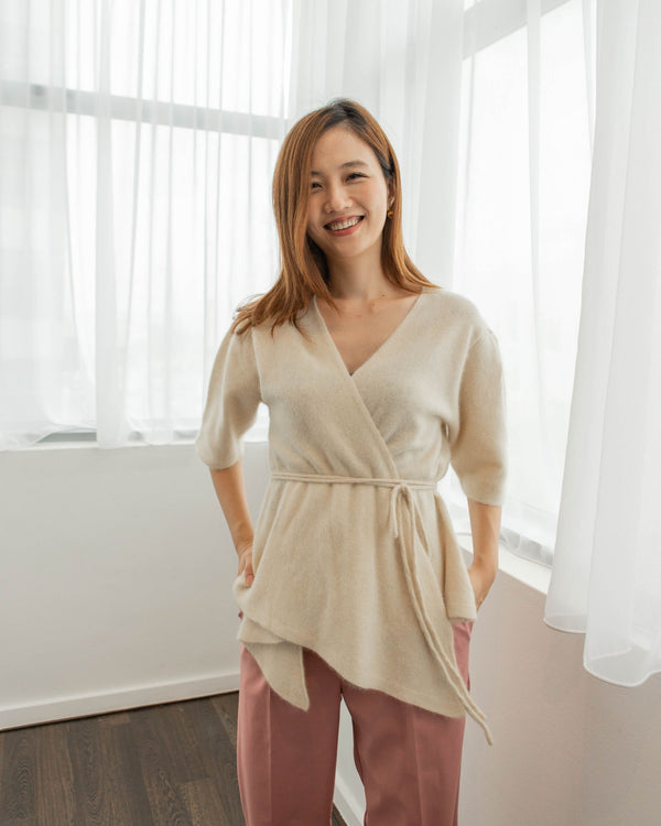 Cream Knit Wrap Blouse
