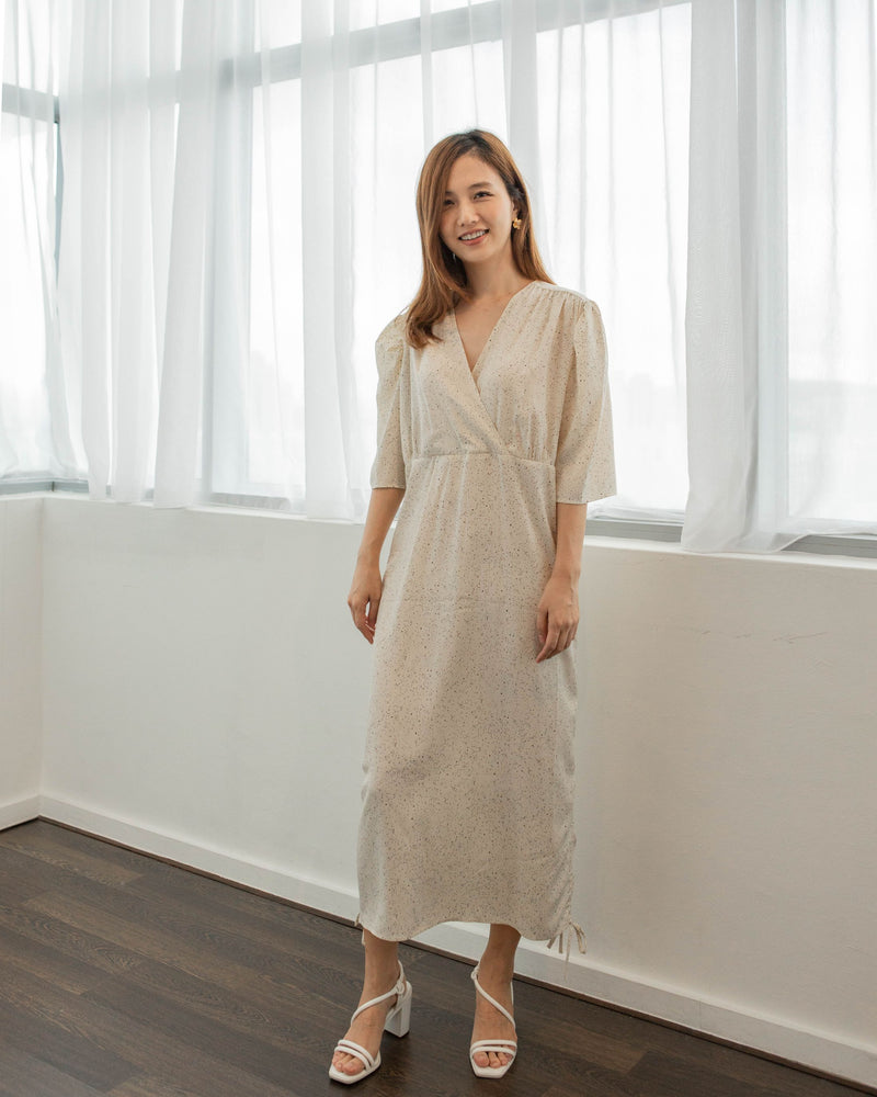 Ruched Speck Wrap Dress
