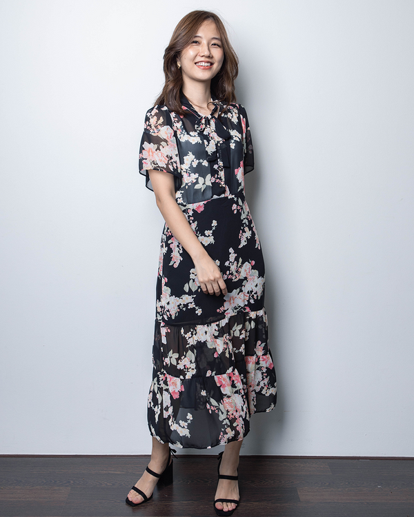 Floral Chiffon Dress (Blue/Black)