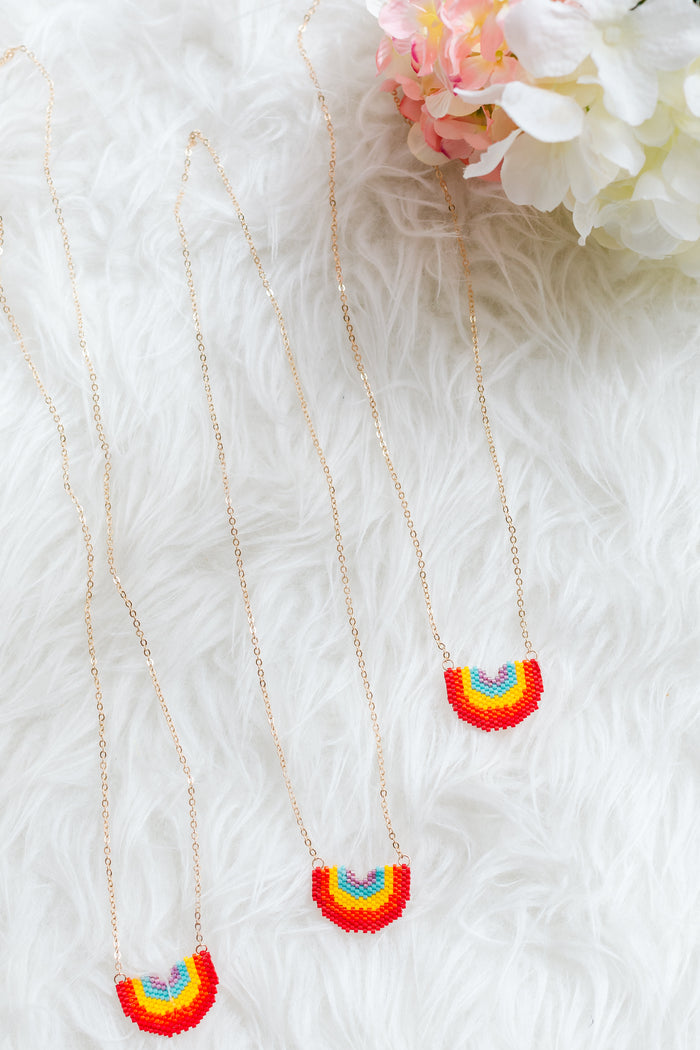 [PREORDER] Twinning Rainbow Necklace (Mum/ Kid)
