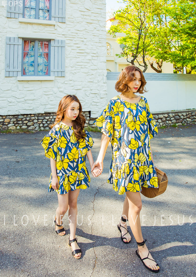 Linen Floral Dress Yellow
