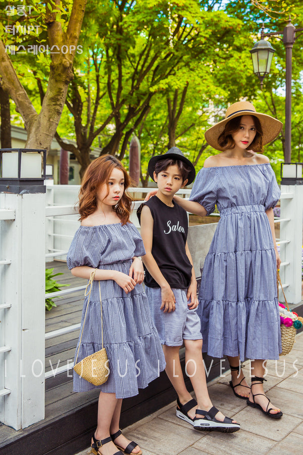 Off-shoulder Dress Navy Mum