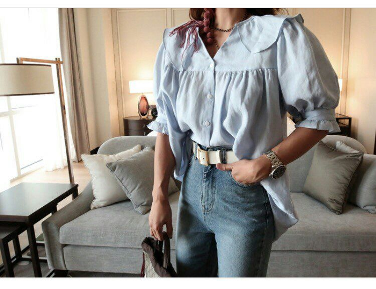 Oversize Peter Pan Collar Linen Blouse (White/Sky Blue)