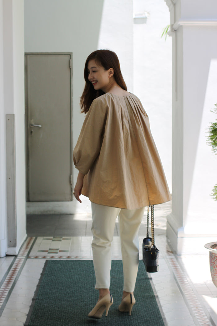 Dropped Shoulder Blouse (White/ Camel)