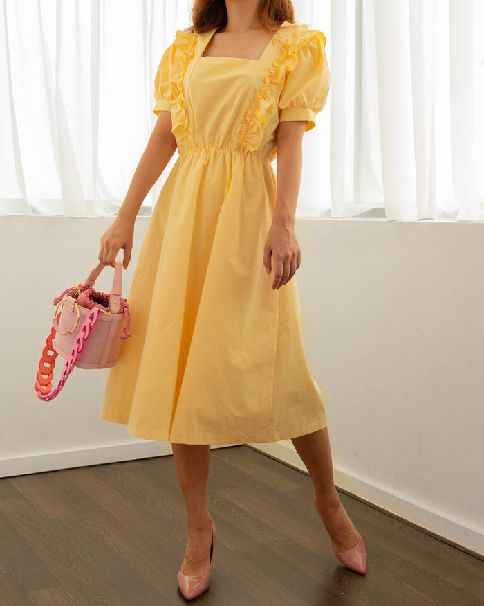 Ruffle Picnic Dress (Pastel Yellow/ White/ Black)