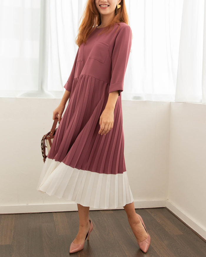 Front Pocket Pleated Dress (Dusty Pink/ Navy)