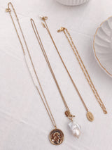 Kimmi Studio Gold Layering Necklace Set / Pearl Choker
