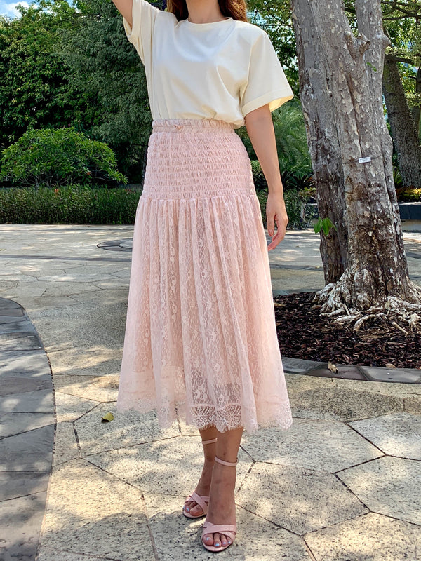 Ruching Lace Skirt (Woman Free Size)