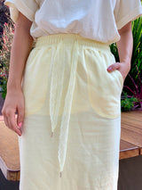 Lace Drawstring Jersey Skirt (Lemonade/ Sky Blue)