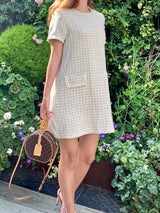 Spring Tweed Mini Dress (Cream/ Black)