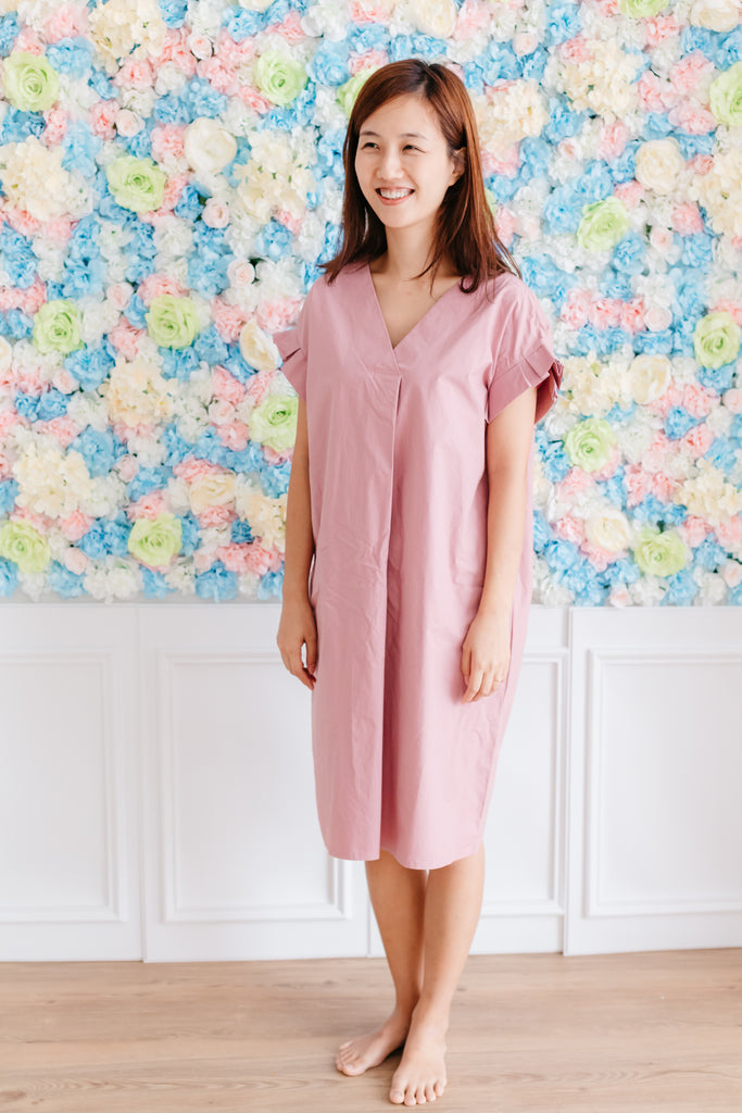 V neck Cotton Dress Indi Pink