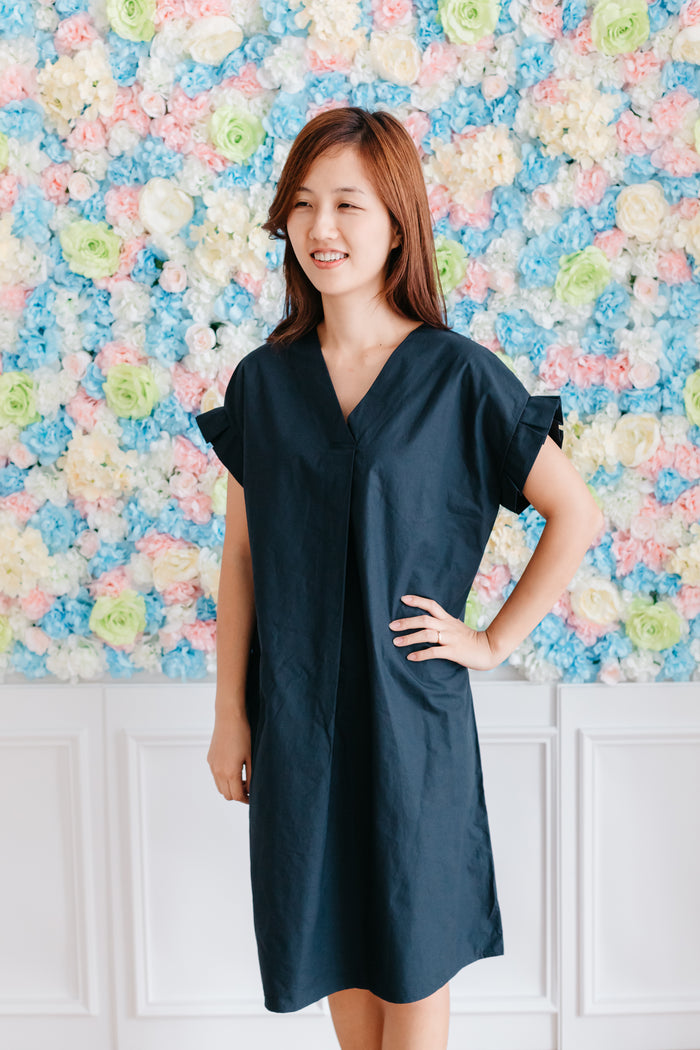 V neck Cotton Dress Navy