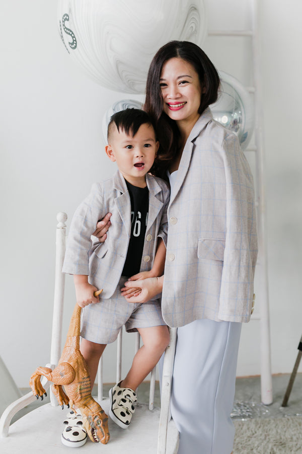 Checkered Linen Jacket Set Beige (Boy)