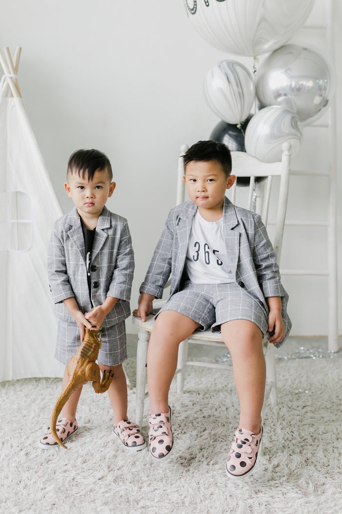 Checkered Linen Jacket Set Charcoal (Boy)