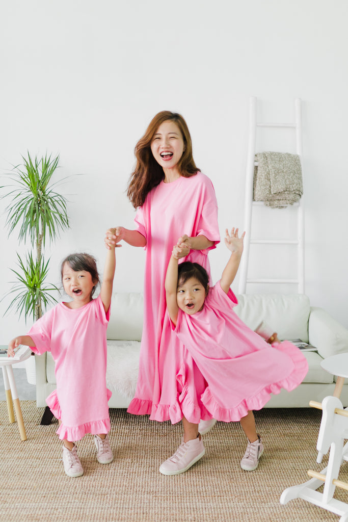 Pink Ruffles Dress (Woman/ Girl)
