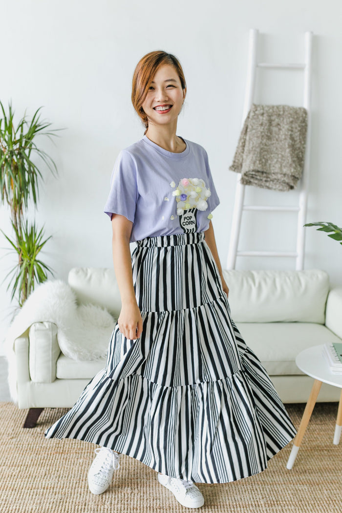 3-tier swirl skirt [Black x Grey] (Woman/ Girl)