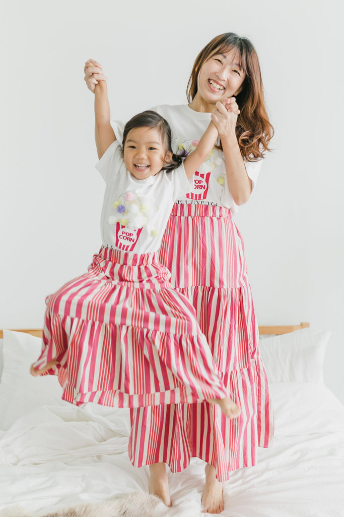 3-tier swirl skirt [Orange x Pink] (Woman/ Girl)