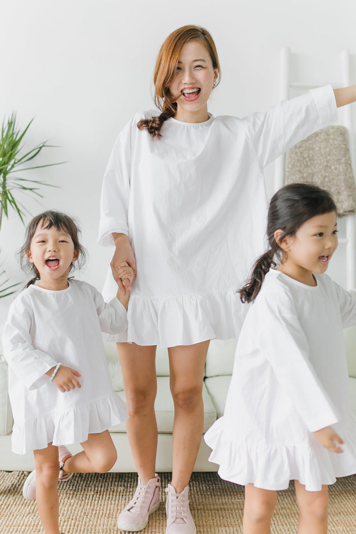 Cotton Mini Dress White (Mum/ Girl)