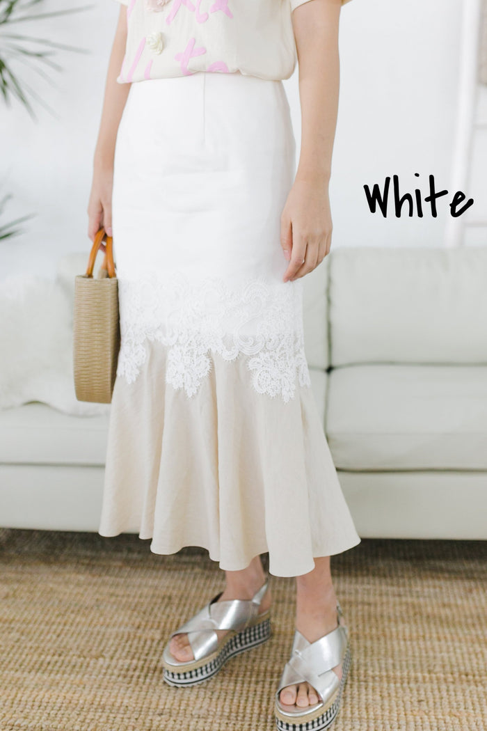 2 Colour Blocks Skirt (White/ Beige)