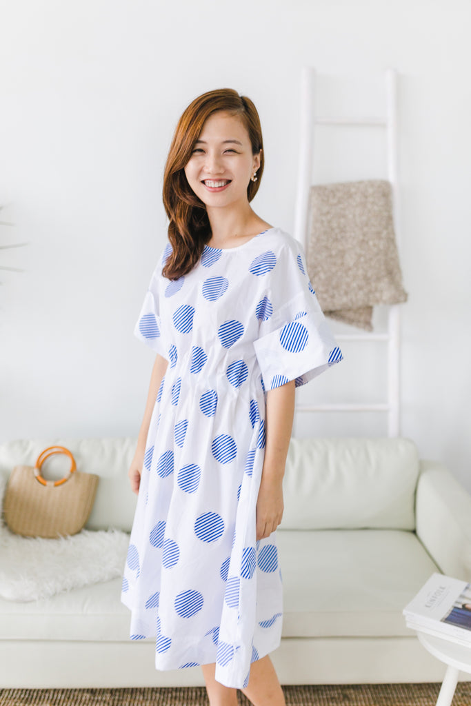 Polka Dot Dress Blue with elastic waist band