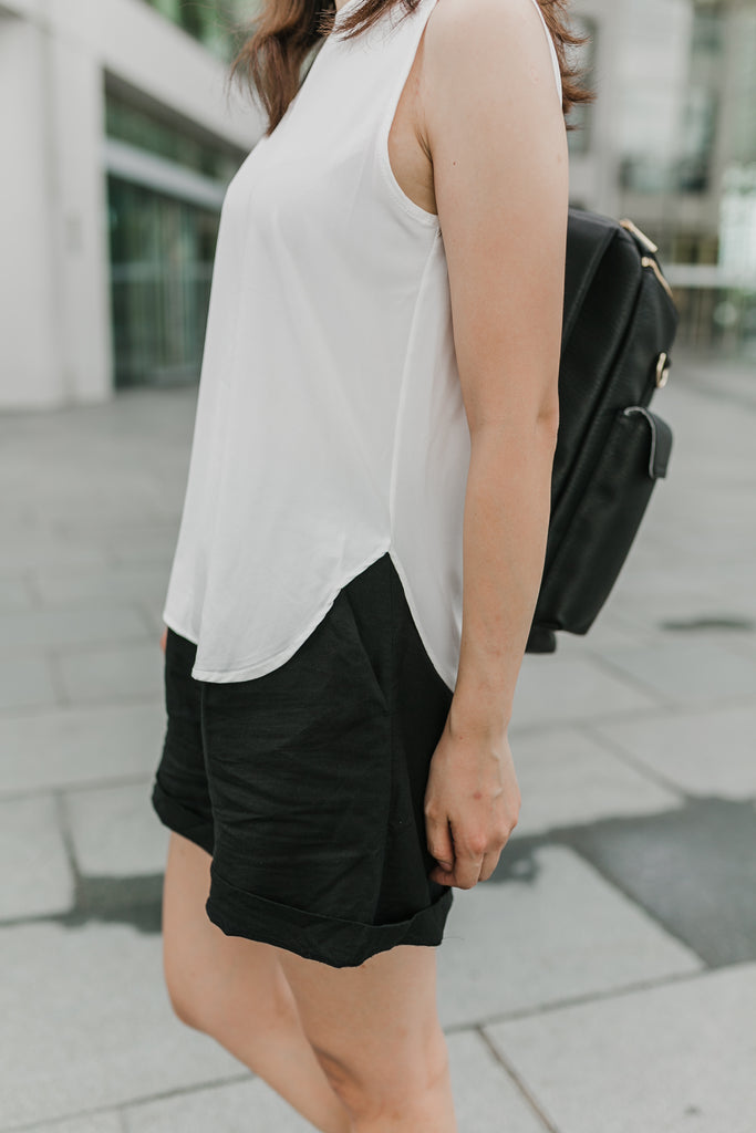 Keyhole Basic Blouse (White/Black/Rose/Matcha)