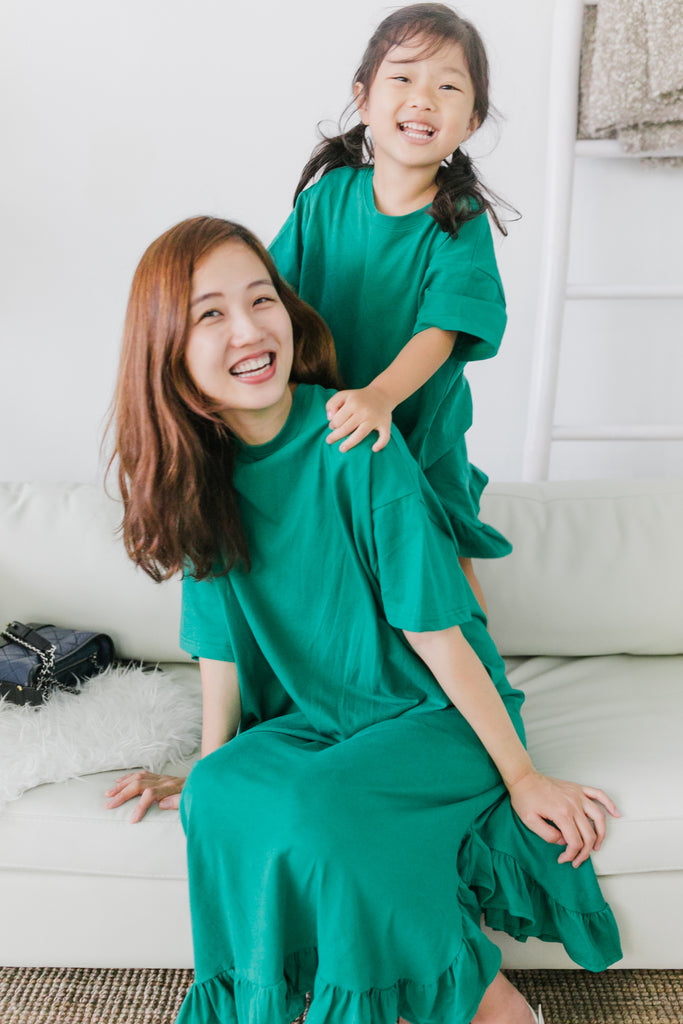 Green Ruffles Dress (Woman/ Girl)