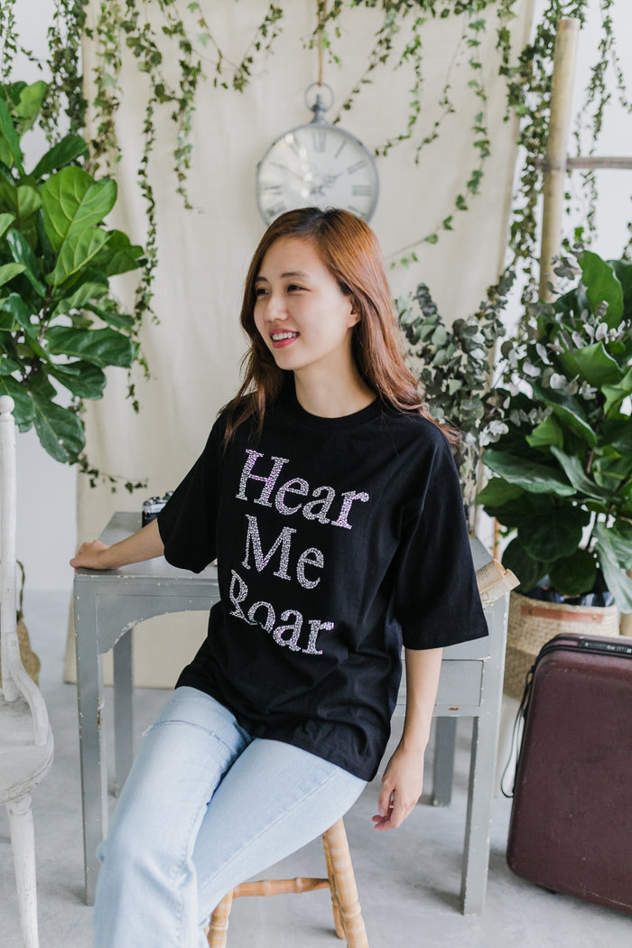 Hear Me Roar T-Shirt Black (Woman/ Kid)