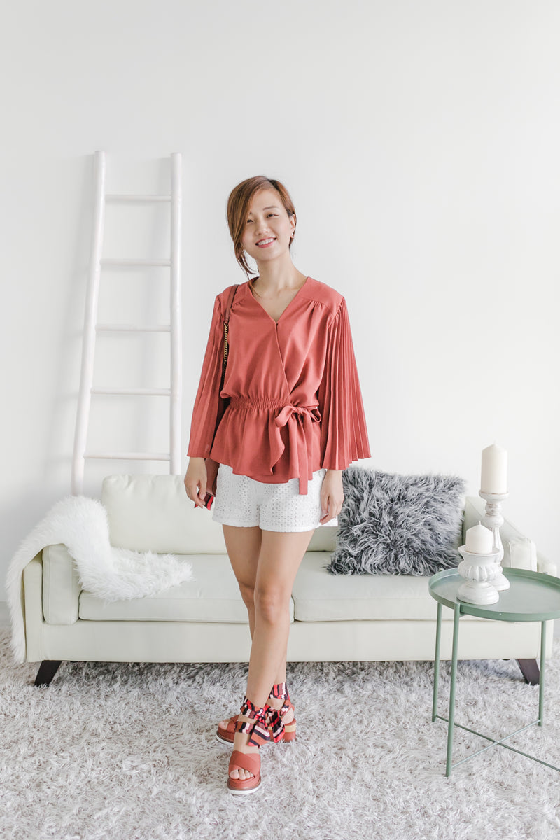 Accordion Wing Blouse Brick
