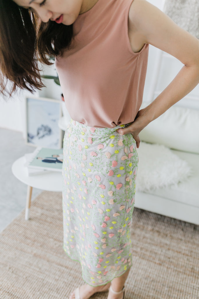 Embroidered Floral Skirt