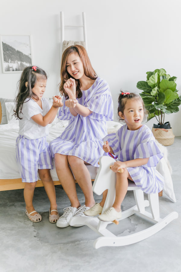 Stripes Wonderland Dress Periwinkle (Woman/ Girl/ Boy)