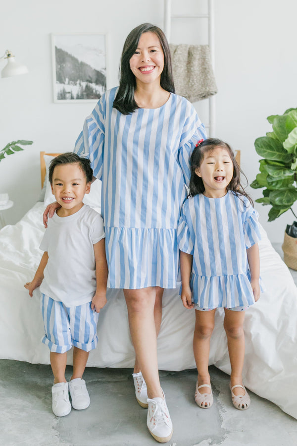 Stripes Wonderland Dress Sky Blue (Woman/ Girl/ Boy)