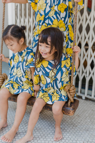 Linen Floral Dress Yellow Girl