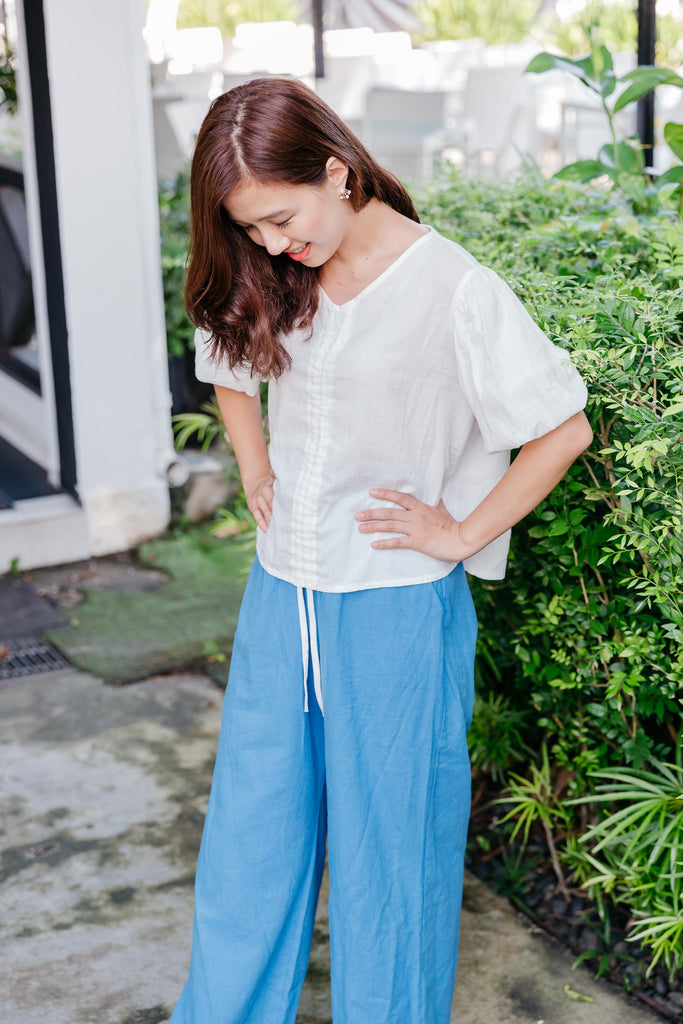 Linen Draw String Pants with full elastic waist band (Blue/ Beige)