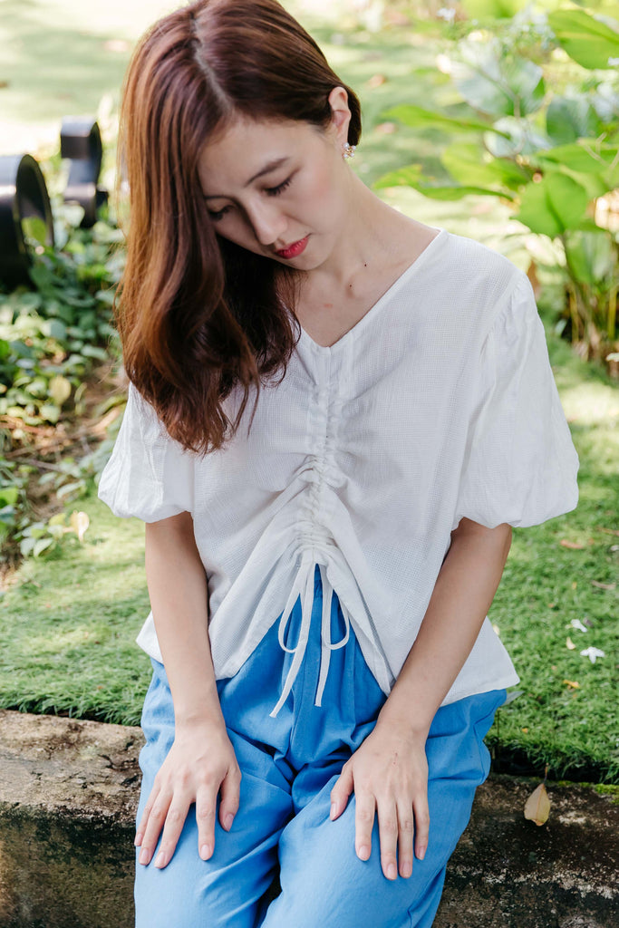 [BACKORDER] Bubble Blouse (Orange/ White)