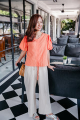 Bubble Blouse (Orange/ White)
