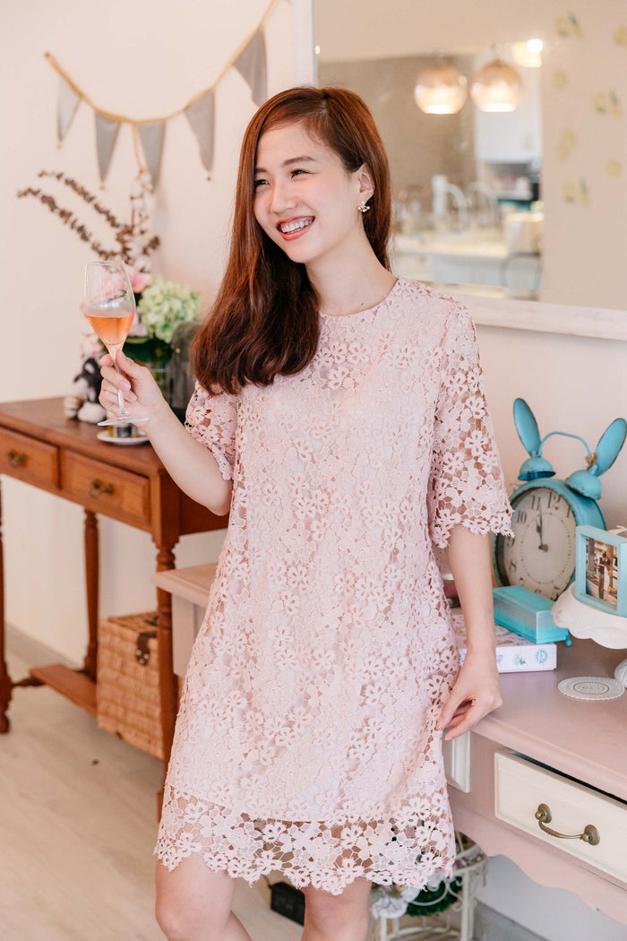 Chantilly Lace Tea Dress Rose