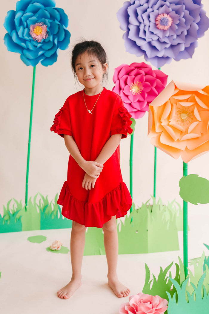 CNY Frill Dress Red Girl