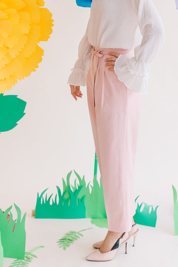 Spring Slacks with Belt Pink