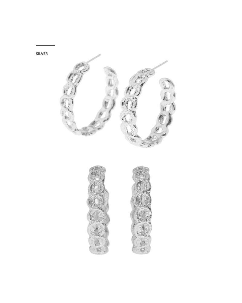 MZUU x Itaewon Class Kwon Nara - 1930 Lace Small Hoop Earrings / Chain Link Necklace (Gold/Silver)