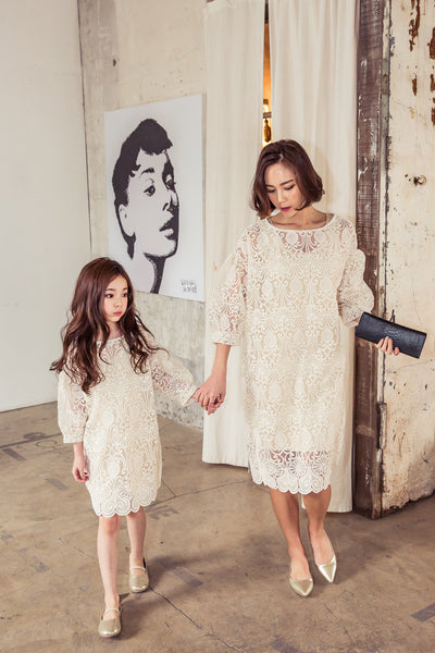 [3rd restock] Lace Dress Beige Mum