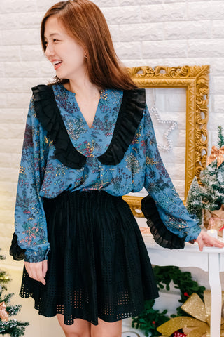 [PREORDER] Vintage Frill Blouse Blue