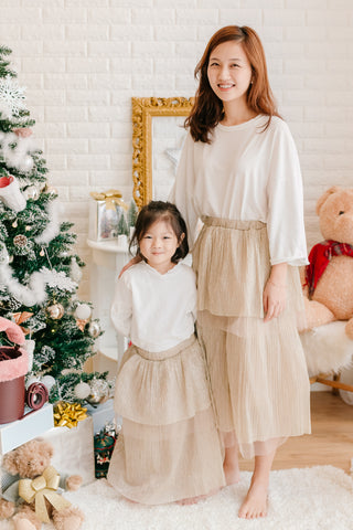 2 Layered Tutu Skirt Gold Beige