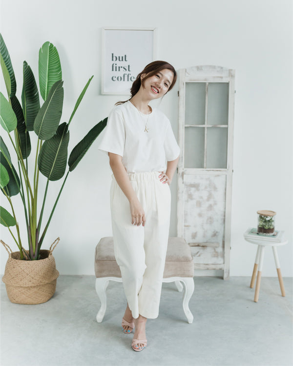 Relaxed Straight Leg Cream Pants