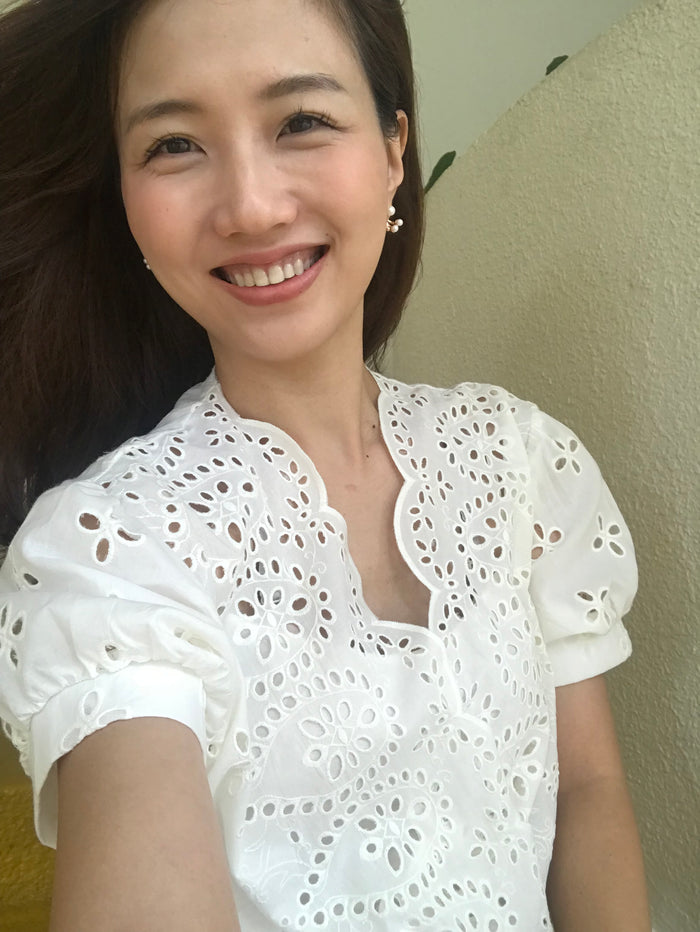 Nice Eyelet Blouse (White/ Black)