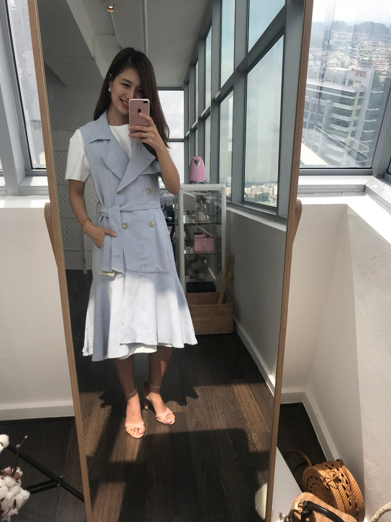 Powder Blue Trench Long Vest