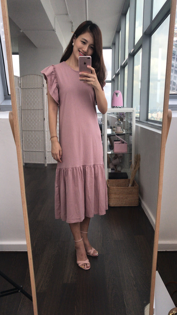 Dropped Hem Midi Cotton Dress (Dusty pink/ Black)